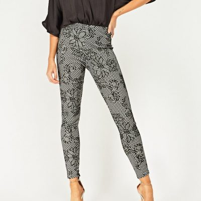 Fish Net Lace Overlay Trousers - Sojoee.com