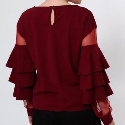 Frilled Sheer Sleeves Top - Sojoee.com