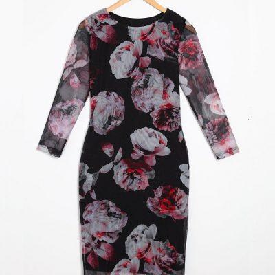 Large Floral Print Net Bodycon Midi Dress - Sojoee.com