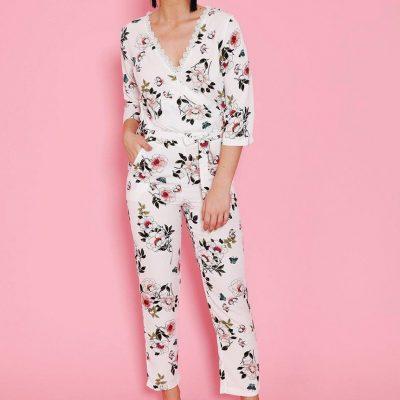 Lace V-Neck White Floral Jumpsuit - Sojoee.com