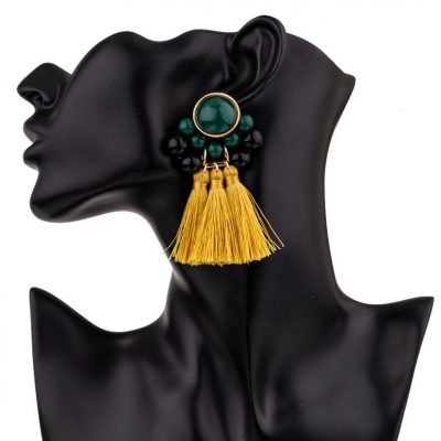 Faux Gem Pearl Disc Tassel Earrings - Sojoee.com