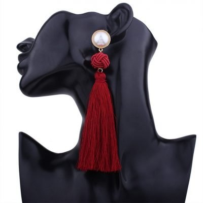 Artificial Pearl Knotted Long Tassel Earring - Sojoee.com
