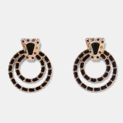 Metal Circle Shape Rhinestone Stud Earrings - Sojoee.com