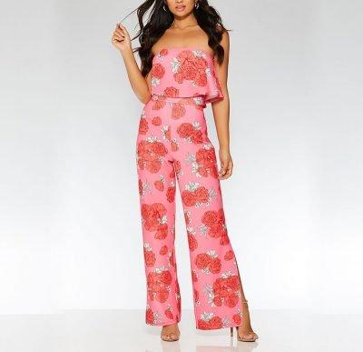 Pink & Red Rose Print Bandeau Jumpsuit – Sojoee.com