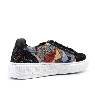 Print and Glitter Embellished Sneakers - Sojoee.com