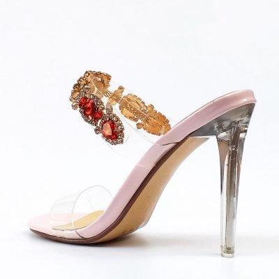 Diamante Studded Perspex Mule - Sojoee.com