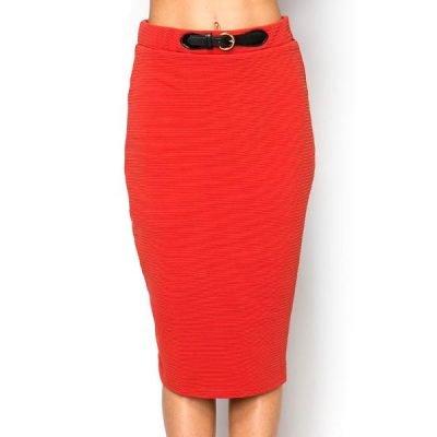 Belt Imitation Ribbed Skirt