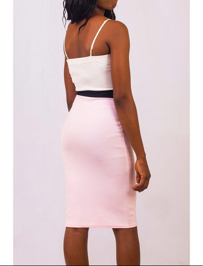 Pink Two Tone Midi Bodycon Dress