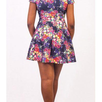 Club L Cap Sleeve Deep V Floral Skater Dress