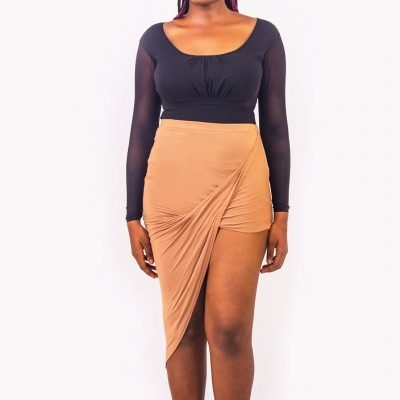 Camel Coloured Draped Asymmetric Skirt