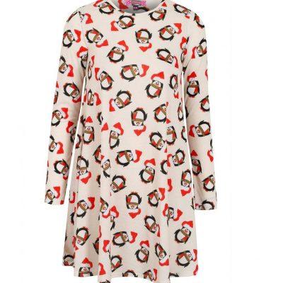 Penguin print christmas swing dress