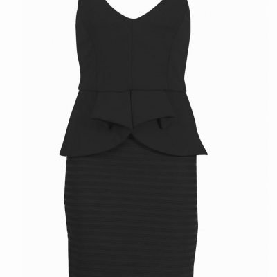 Black Peplum Bodycon Dress - Black