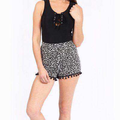 Monochrome Pom Pom Shorts - Sojoee.com