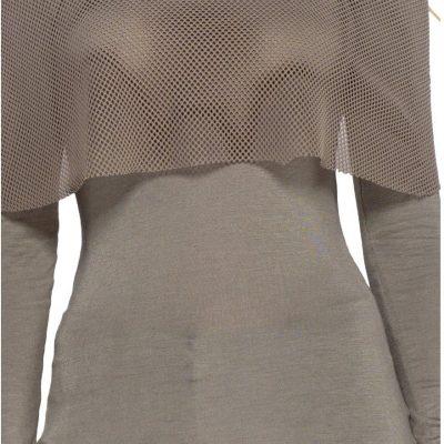 Khaki Off The Shoulder Long Sleeve Mesh top - Sojoee.com