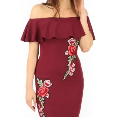 Wine Bardot Bodycon Frill Dress with Floral Embroidery - Sojoee.com