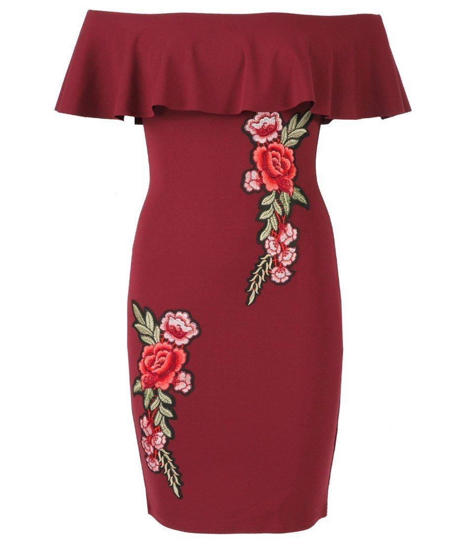 Wine Bardot Bodycon Frill Dress with Floral Embroidery – Sojoee.com