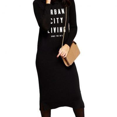 Black Word Print Long Dress - Sojoee.com
