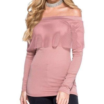 Rose Pink Off The Shoulder Long Sleeve Mesh top - Sojoee.com