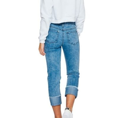 Roll Up Cropped Denim Jeans - Sojoee.com