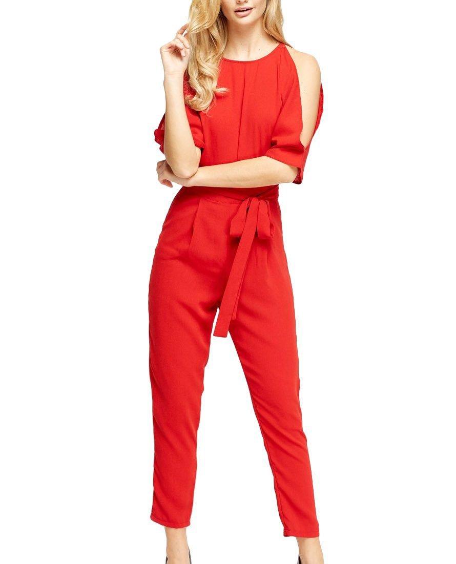 Red Slit Jumpsuit – Sojoee.com