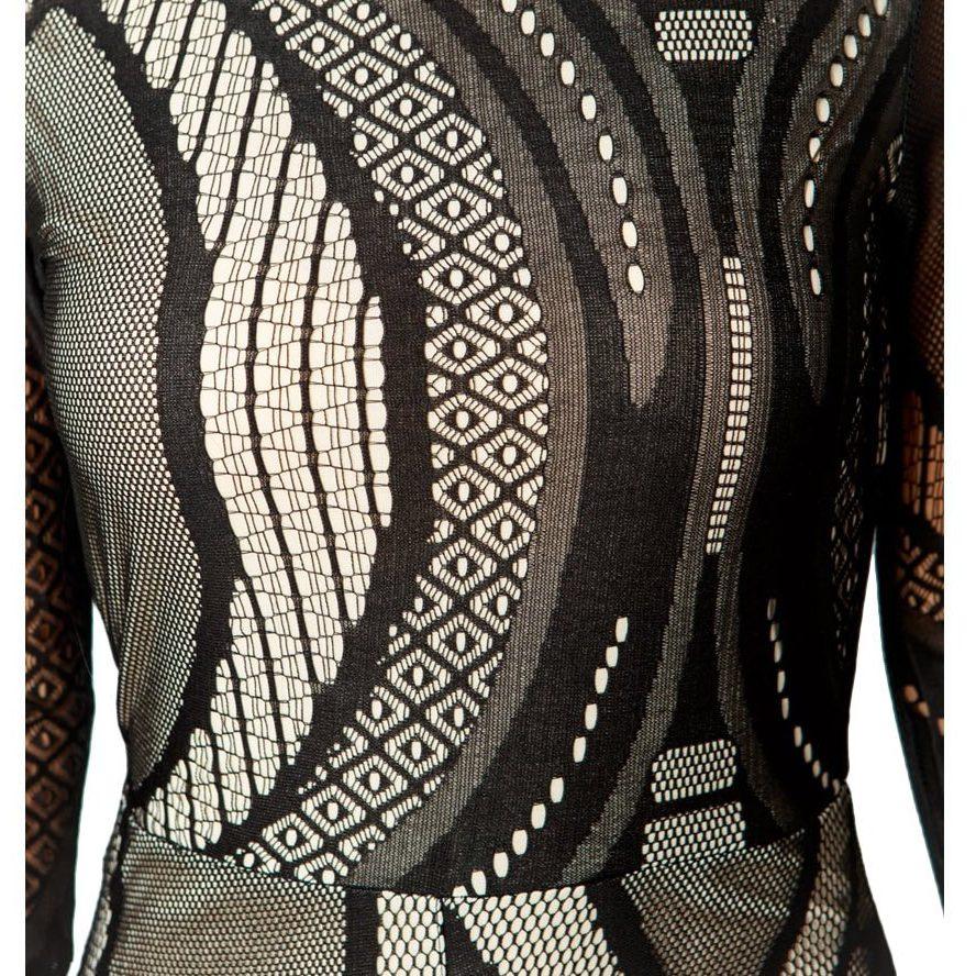 Black/Nude High Neck Lace Jumpsuit – Sojoee.com