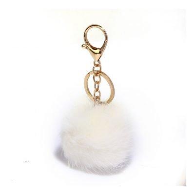 White Fluffy Bag Charms - Sojoee.com