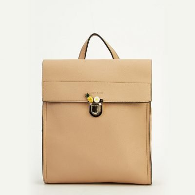 Brown Faux Leather Detailed Clip Backpack