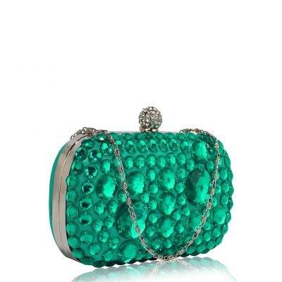 Emerald Sparkly Crystal Satin Clutch purse - Sojoee.com