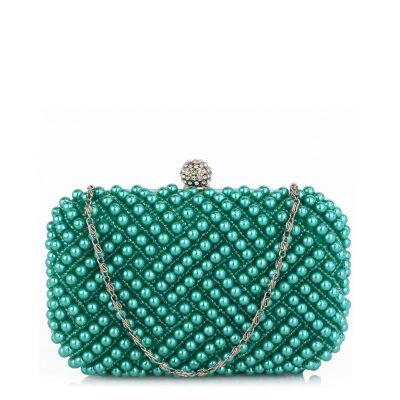 Beaded Pearl Rhinestone Clutch Bag - Sojoee.com