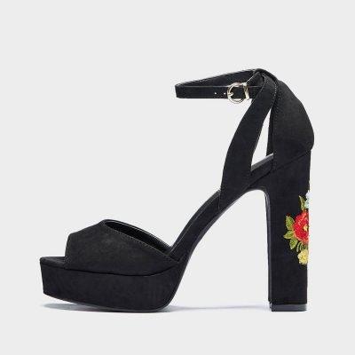 black block heel womens sandals