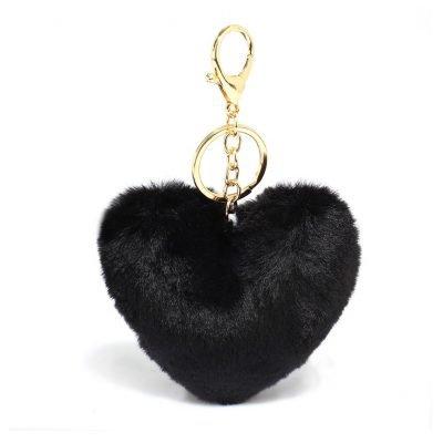 Black Fluffy Heart Bag Charms - Sojoee.com