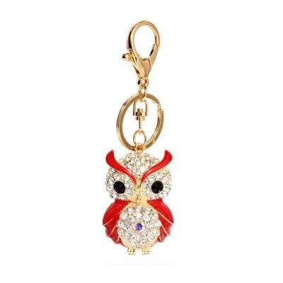 Gold Metal Owl Rhinestone Bag Charm - Sojoee.com