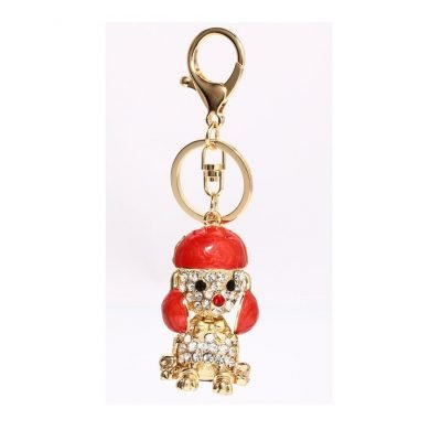 Sparkly Gold Metal Dog Rhinestone Bag Charm - Sojoee.com
