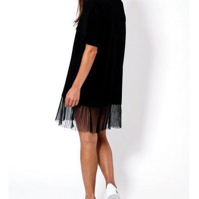 Black Chiffon Hem Slogan T-Shirt Dress - Sojoee.com