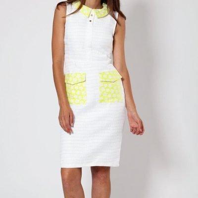 Yellow/White Jacquard Dress - Sojoee.com