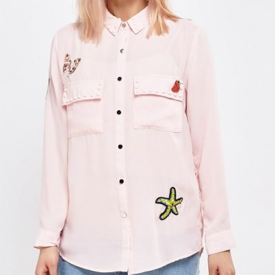 Embellished Applique Detail Shirt - Sojoee.com