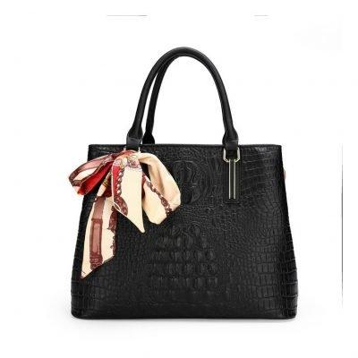 Croc skin Black women hand bags