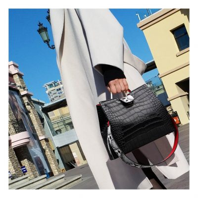 Black Croc Skin Structured Handbag for women