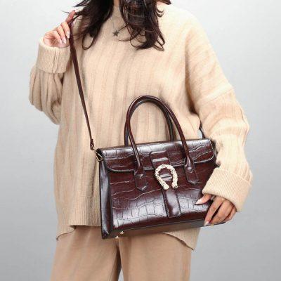 Brown structured croc effect womens handbag