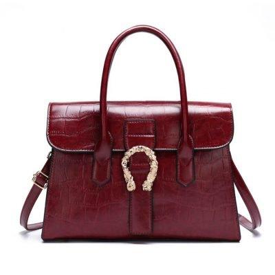 Burgundy structured croc effect womens handbag