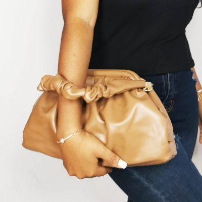Brown Runched Hand Ladies Outing Bag