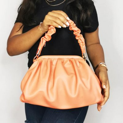 Peach Runched Hand Ladies Outing Bag