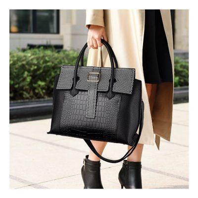 Real leather womens Black work handbag