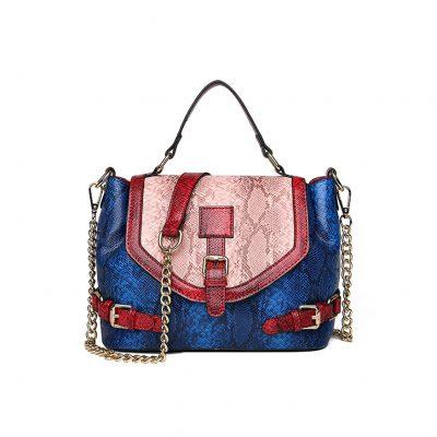 Blue Snake Skin Print Womens Handbag