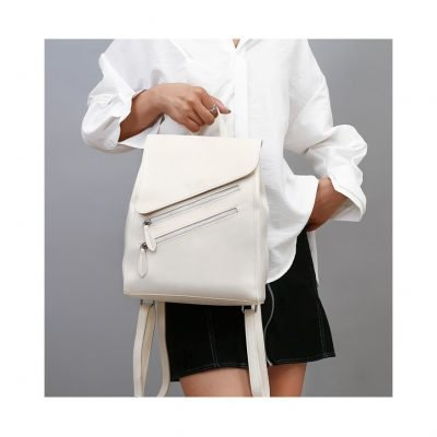 White PU leather womens backpack