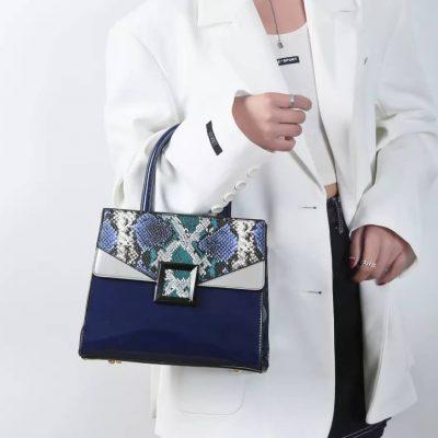 Blue Patent Leather Print Skin Womens bag