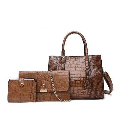 Brown Patent Leather Print Skin Womens bag