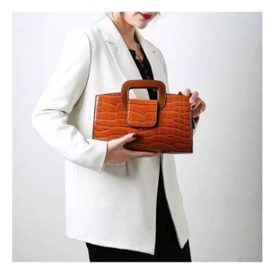 Brown Patent Croc Pattern Messenger Bag for women
