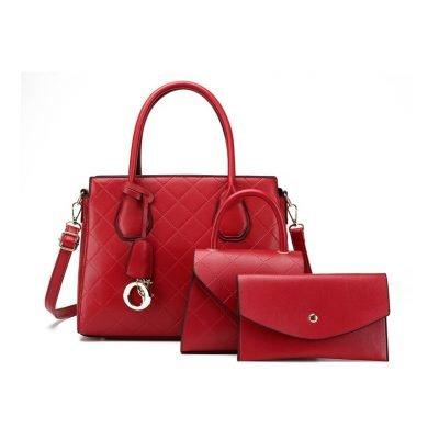 Red 3 in 1 set Big PU Leather Handbag