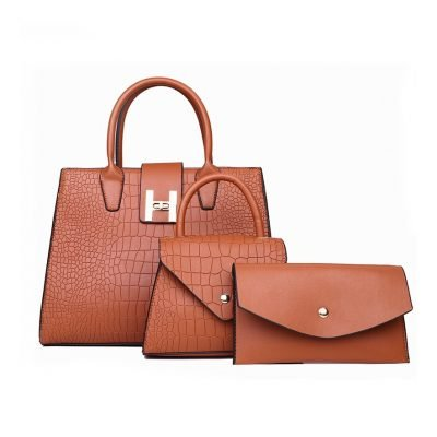 Brown 3 in 1 Croc Pattern Patent Hand bag